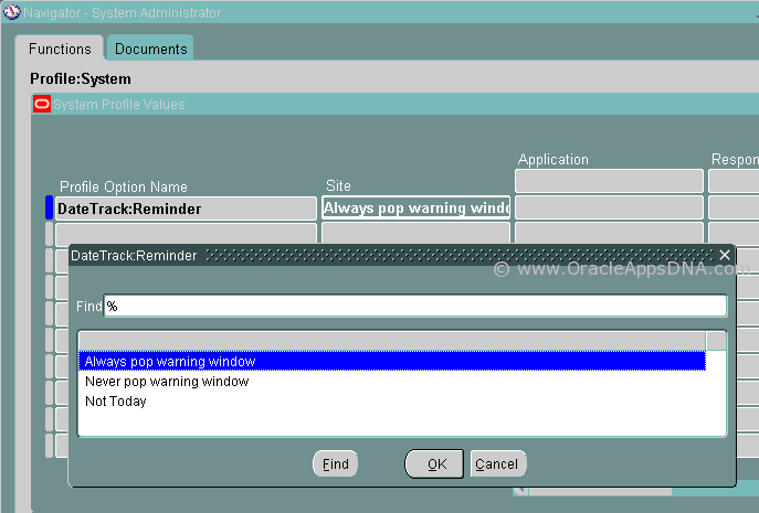 Setup to enable Effective Date Tracking popup in Oracle HRMS