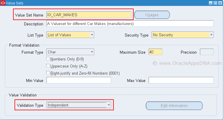 How to Create a Dependent Parameters using Dependent Value set